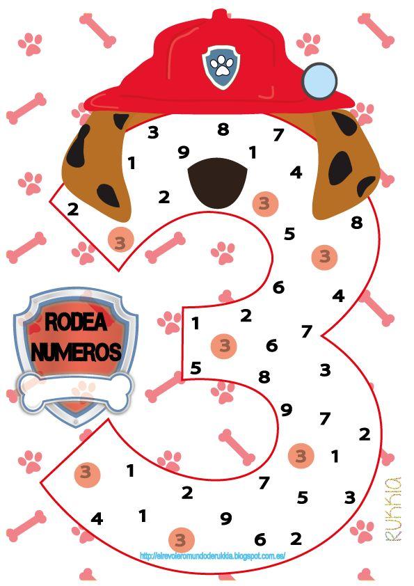 Pawl patrol, printable pawl patrol, circle the number, aprender numeros, ficha de numeros para niños, ficha para colorear patrulla canina, patrulla canina, patrulla canina imprimible, patrulla canina ficha
