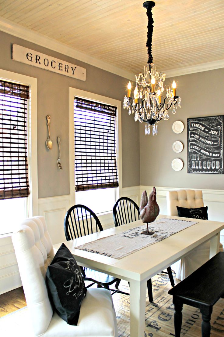 French country gray dining room - Could Continue The Livingroom Colour Theough The Kitchen With A Beadboard Wall And Chair Rail To Farmhouse Paint Colorsdinning Room