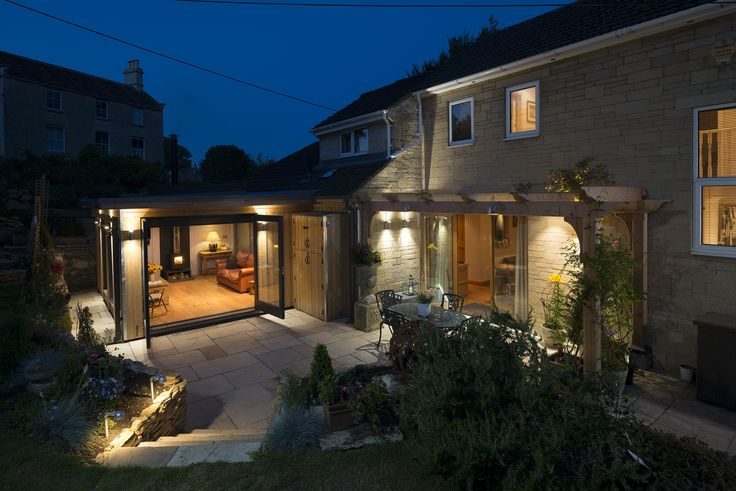 Modern Architect Extension, Garden Patio Lighting Douglas Fir Loggia and Larch Cladding