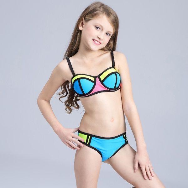 c68587d281 Swimsuit Children kid 2018 New Contrast Color Beachwear Bikini Girl ...