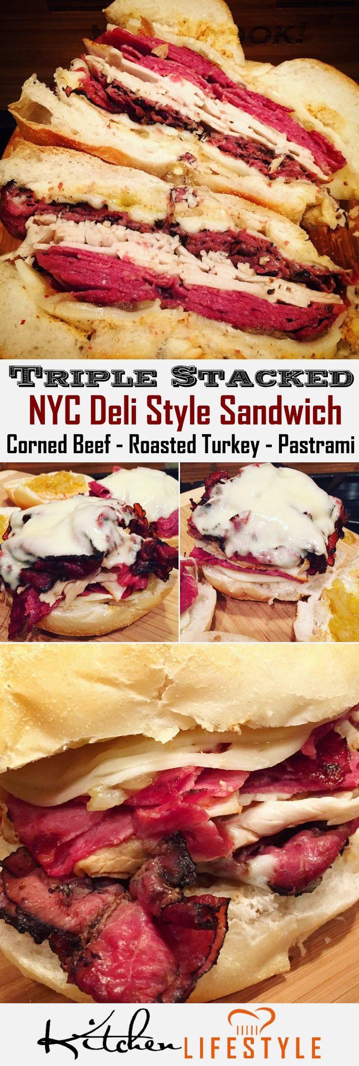 Triple Meat NYC Deli Sandwich Recipe: Turkey, Corned Beef, & Pastrami with Havarti & Swiss cheese, horseradish cream, & sweet onion jam. via @KitchnLifestyle