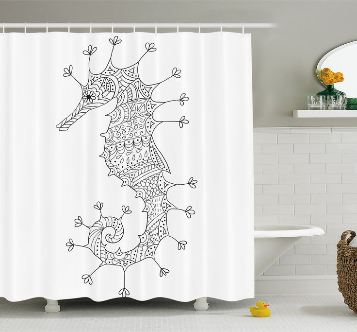animal seahorse culture roman poseidon god heraldic magical artsy sign shower curtain set