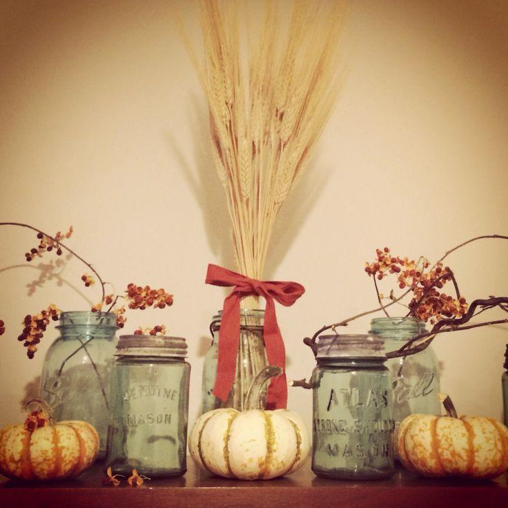 Fall decor with mason jars