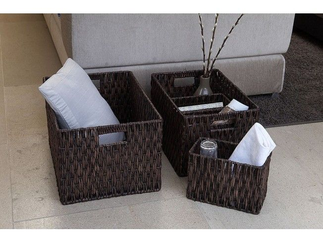 Rectangular Basket with Cut Out Handles