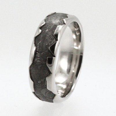 Cool Meteorite Platinum Ring, Platinum Wedding Band for Men, Unique Mens Ring Wavy Profile