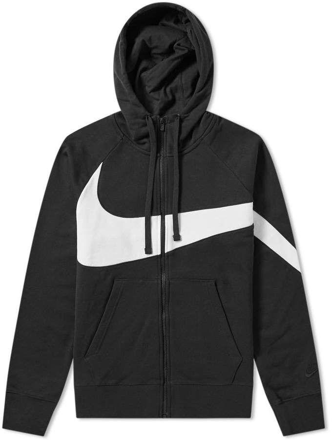 Nike Big Swoosh Zip Hoody Denim Jacket With Hoodie Mens Clothing Styles Mens Gym Hoodies