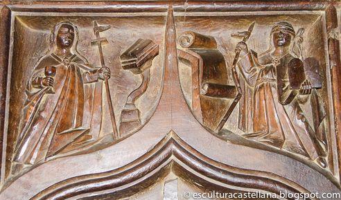 Tablero-respaldo de silla alta, 1576-78. Sillería, Coro, Excolegiata de Belmonte, Cuenca. Imágenes simbólicas pues era costumbre encarnar en figuras humanas conceptos abstractos.