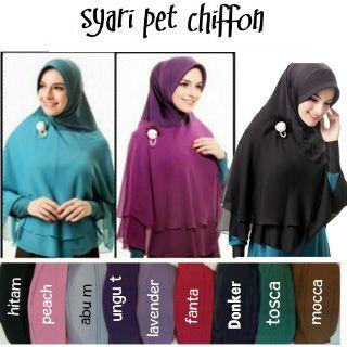 Hijab/Jilbab Khimar Syar'i Pet Chiffon  Jilbab khimar syar'i dengan pet, kombinasi jersey dan double cerruti, sehingga tidak menerawang. Keterangan : Panjang sesuai gambar, tidak termasuk bros. Bahan : jersey kombinasi double sifon cerruti