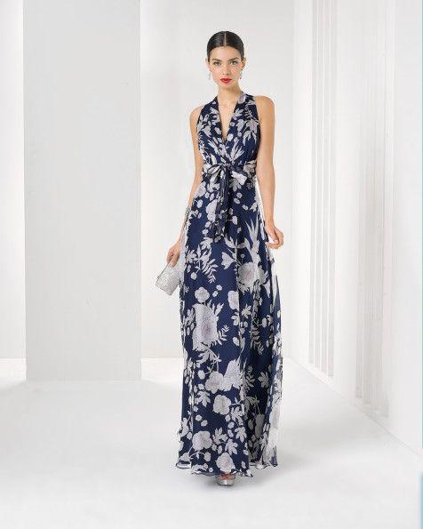 Длинное платье из шелкового шифона с рисунком и шаль. Цвет: темно-синий.