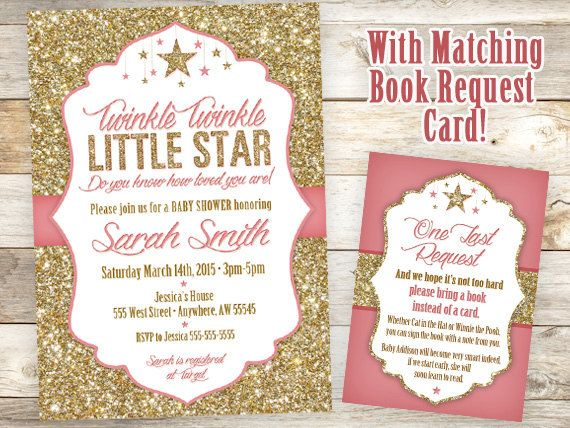 Twinkle Twinkle Little Star Invitation, Little Star Invitation, Baby Shower  Invite And Star Book Request Card