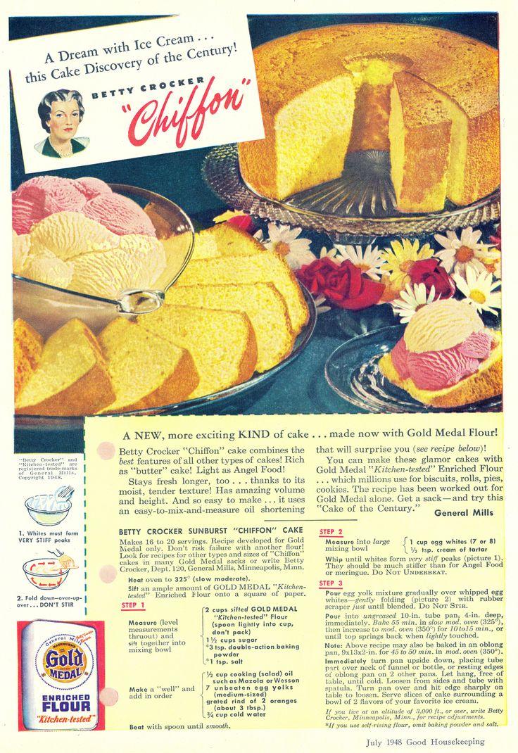 """Betty Crocker Sunburst Chiffon Cake Recipe from """"Good Housekeeping""""   July 1948"""