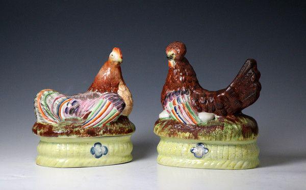 Pair of Staffordshire pottery pearlware hens seated on baskets - Antique Staffordshire Pottery of John Howard