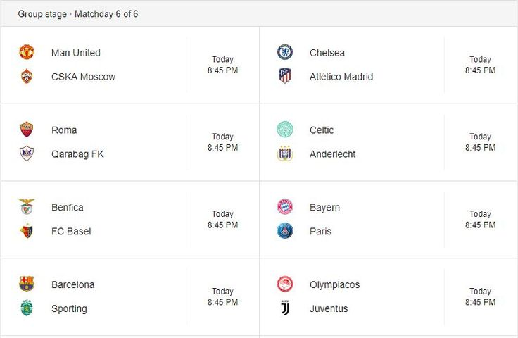 CHAMPIONS LEAGUE LIVE: (Bayern Munich vs PSG Manchester United vs CSKA Moscow Chelsea vs Atletico Madrid Barcelona vs Sporting CP) and Others - LIVE SCORE