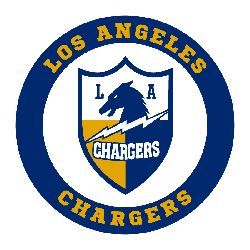 "A wordmark ""LOS ANGELES CHARGERS"" in yellow circling around the shield on blue background. Description from sportsteamhistory.com. I searched for this on bing.com/images"