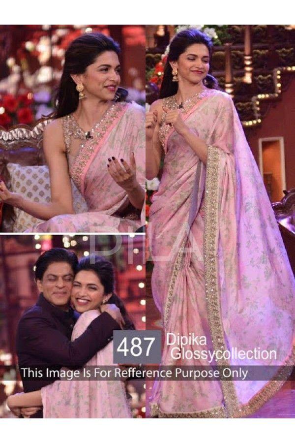 Bollywood Replica Deepika Padukone Designer Glossy Pink Party Wear Saree 487 Sia 400 Bollywood Designer Sarees Indian Designer Sarees Party Wear Sarees