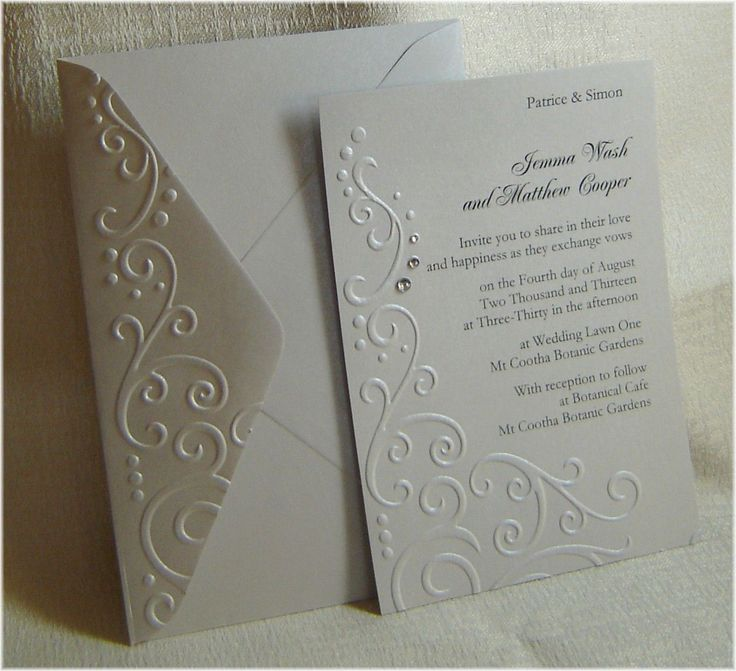 bridal shower invitations with recipe card attached%0A Embossed Wedding Invitations