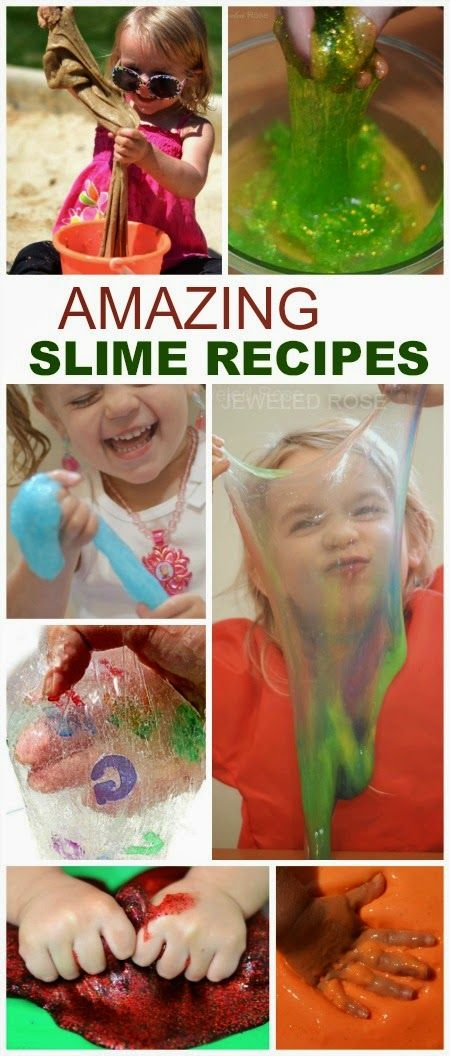 Amazing ways to play with slime including recipes for taste-safe slime, borax free slime, alphabet slime, glow slime, Frozen slime ,and MORE!