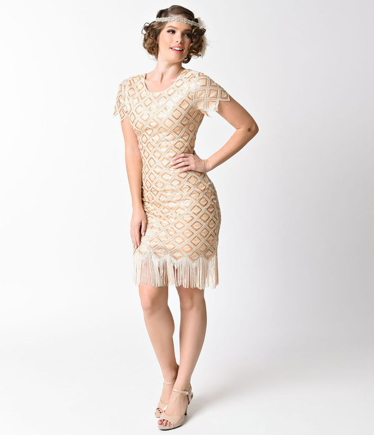 Verty Gold  Champagne Sequin Lattice Cap Sleeve Fringe 1920s Flapper Dress  Size L $78.00 AT Vintagedancer.com