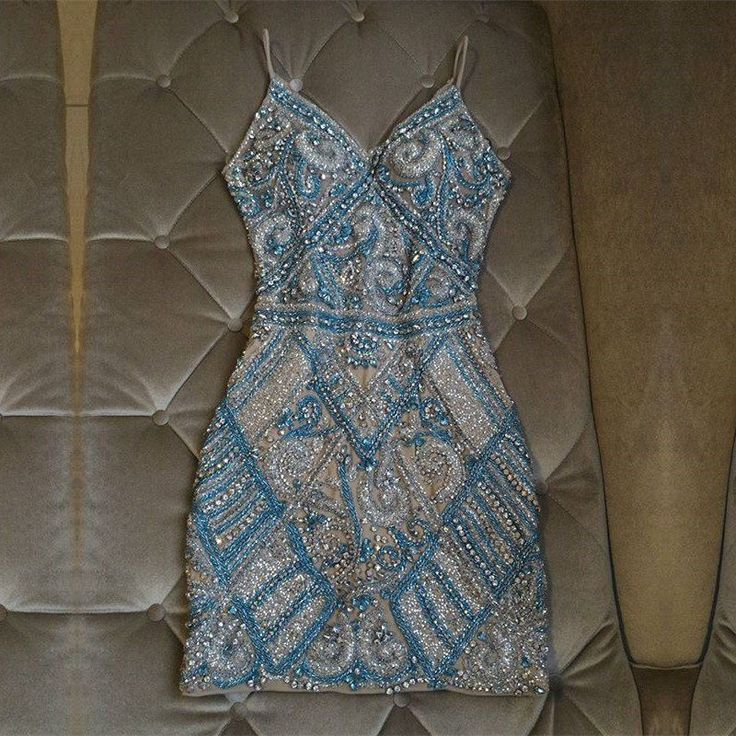 Luxury Beaded Homecoming Dress,Tight Spaghetti Straps Mini Party Dress,LV1172 2