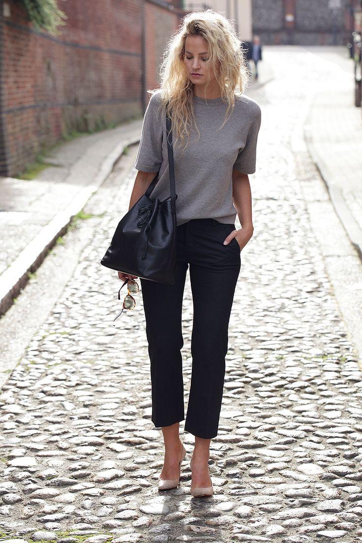 black skinny jeans, light flats, grey short sleeve t-shirt / jumper