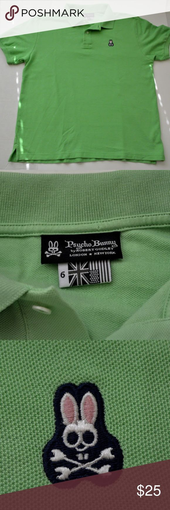 """Psycho Bunny Light Green Polo Shirt Sz. 6 (L Men's Lime green polo with embroidered pink,black and white logo.  This item is in excellent preowned condition, no visible stains, holes or tears  Measurements: Armpit to armpit 23"""" / Length (bottom of collar to botom hem) 29"""" *all measurements are approximate Psycho Bunny Shirts Polos"""