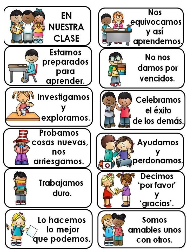 This is a set of cards to be printed and displayed in the classroom. There are 15 cards in English and the same 15 cards in Spanish. Useful to discuss and set up expectations at the beginning of the school year and as a visual reminder all throughout the year. Good for the bilingual and dual language classrooms.
