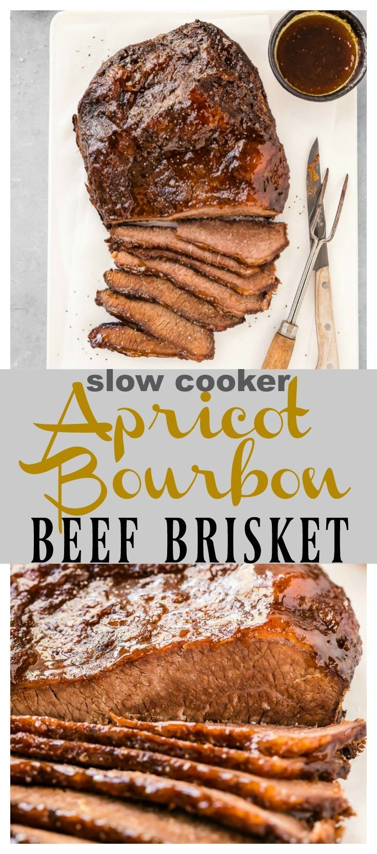 Slow Cooker Apricot Bourbon Beef Brisket [with recipe video]   Ultra tender, flavor packed, melt in your mouth brisket slathered with a sticky, sweet apricot bourbon glaze. Set it and forget it in the crock pot, then be prepared to fall head over heels in love with this brisket! It's easy to prepare, bursting with flavor and perfect for entertaining or summer BBQ's! #slowcooker #crockpot #easy #brisket