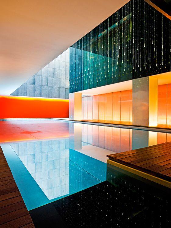 Opposite House, Beijing, Stainless steel swimming pool.