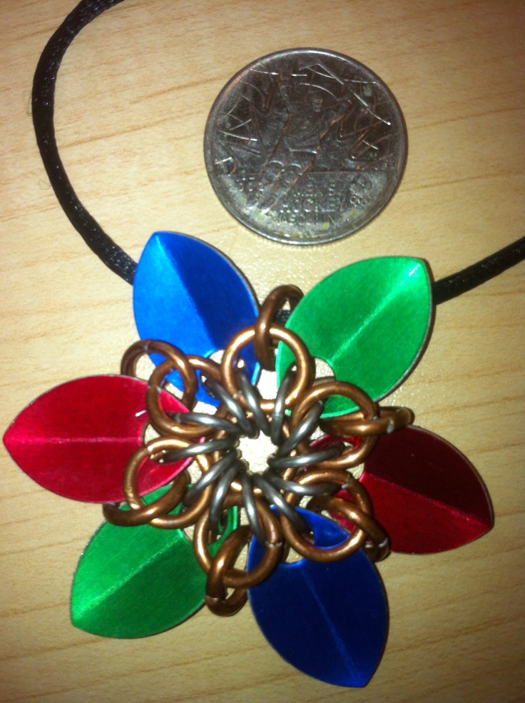 """Six point pendants in scales and chain mail.  """"Lile"""" us on facebook-  Bcchains chain mail and more."""