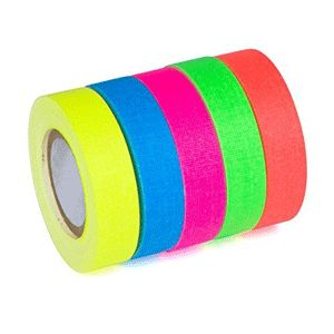 Professional Premium Grade Gaffer Tape - 1 Inch x 20 Yards, Multi color Fluorescent Pack - Heavy Duty Pro Gaff Tape - 5 Beautiful Rolls