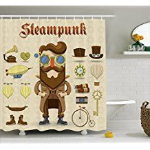 Steampunk Shower Curtain By Ambesonne Cartoon Style Male Character And Vintage Mechanical Elements Hipster Gentleman