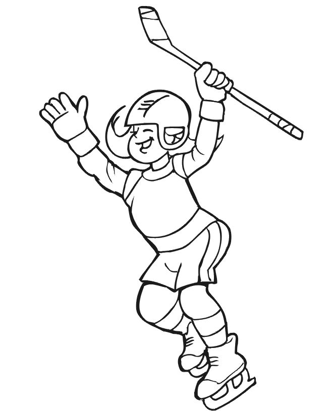Hockey Coloring Page: Girl Hockey Player // www.ItsOurIce.com