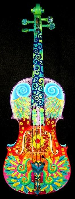 Painted Violin Painting by Elizabeth Elequin.  To purchase prints or greeting cards, visit the link below.  To see more of this artists works, visit http://fineartamerica.com/profiles/elizabeth-elequin.html.