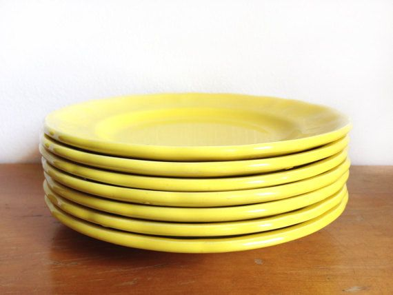 Vintage 1960s Elysee by Luneville Fraience of France - Louis XV Bright Yellow Plate 7 piece Salad Bread Dessert Plate French Dinnerware Set by LeBeauHaus, $60.00