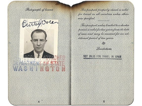 A Hindenburg Passenger Ticket, Possibly the Only One to Still Exist, Goes On View at The Smithsonian National Postal Museum. Dolan's passport helped identify his body after the crash. Courtesy of the Dolan family archives