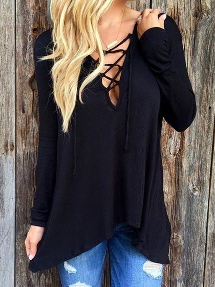 Fashion Sexy Lace Up Hoodie Shirt