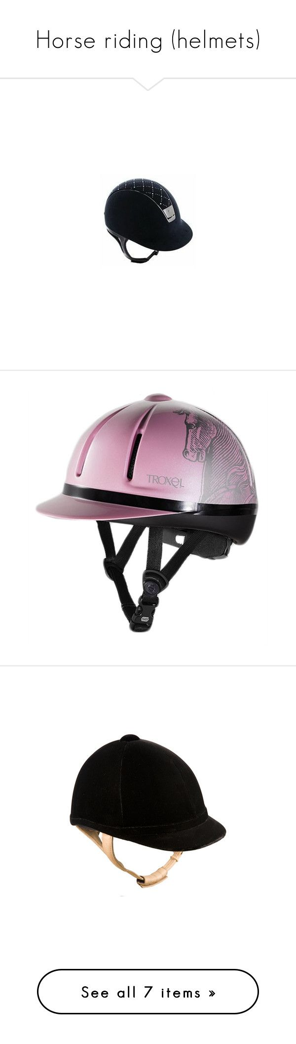 """""""Horse riding (helmets)"""" by the-true-me ❤ liked on Polyvore featuring hats, accessories, riding, helmets, charles owen, equestrian, horse and riding helmets"""