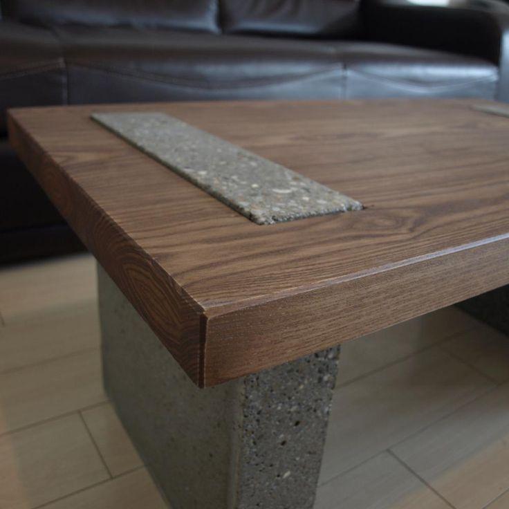Masuta de cafea din beton si lemn