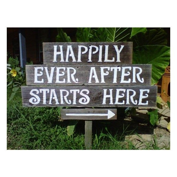 Recycled Wood Wedding Sign. Happily Ever After Starts Here. Wedding... ❤ liked on Polyvore