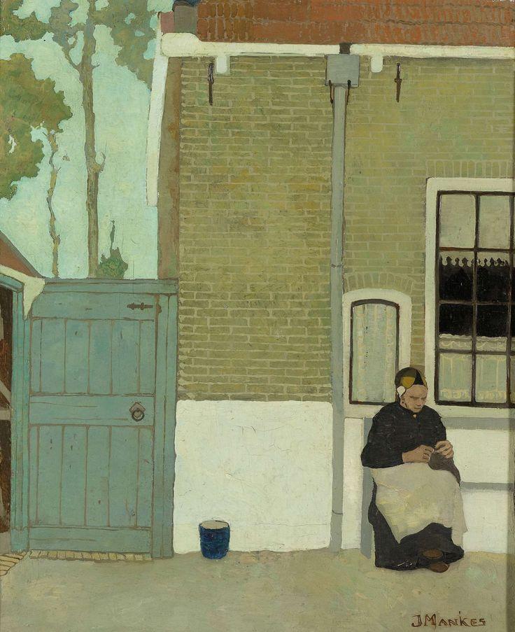 Jan Mankes | Vrouw voor haar huis, Jan Mankes, 1914 | Een vrouw zit voor haar huis te handwerken, links een poort waarnaast een emmer staat. Op de achtergrond bomen.