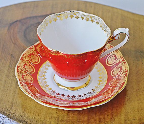 Royal Standard Teacup And Saucer Red And Gold Cup And Saucer