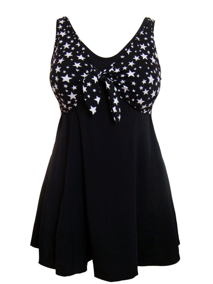Black and White Starry Nights Swimdress with Tummy Control/Secret Support: Amazon.co.uk: Sports & Outdoors