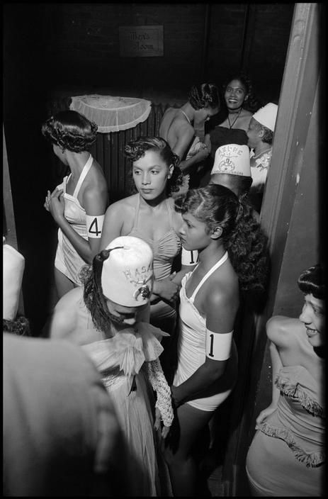 "vintageblackglamour: "" Beauty contestants backstage at a pageant sponsored by the Shriners in Harlem, 1951. Photo: Burt Glinn/Magnum Photos. """