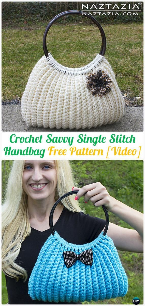 Crochet Savvy Single Stitch Handbag Tote Free Pattern [Video] - #Crochet; #Handbag; Free Patterns