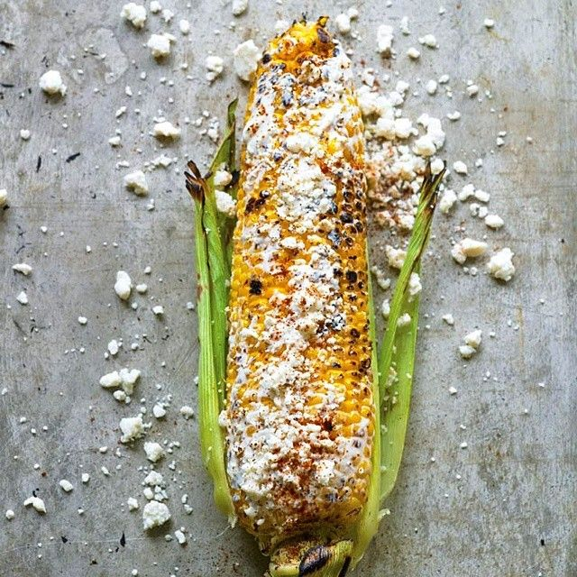 The Feed / Corn on the cob - even better with sour cream and cotija cheese!