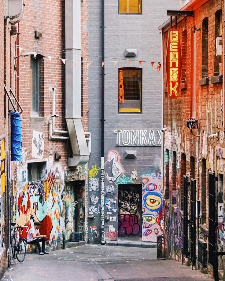 Melbourne Central Business District's laneways are colored with elaborate street art and concert posters, and lined with chic bars and must-try restaurants. Add Chin Chin to your list of Melbourne eats! | Melbourne CBD, Australia