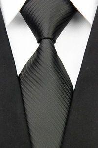 GA031 Black Solid Striped Classic MEN'S Silk Woven Necktie TIE Career Casual   eBay