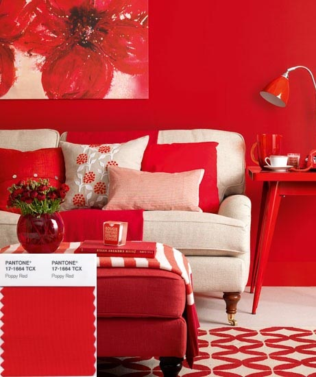 Poppy red and White Room