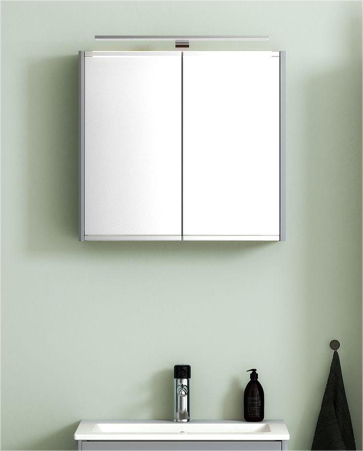 Spegelskåp från vår badrumsserie Graphic. Färg - varm grå.