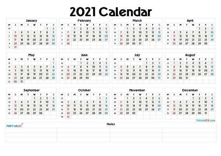2021 Calendar With Week Number Printable Free - Week ...